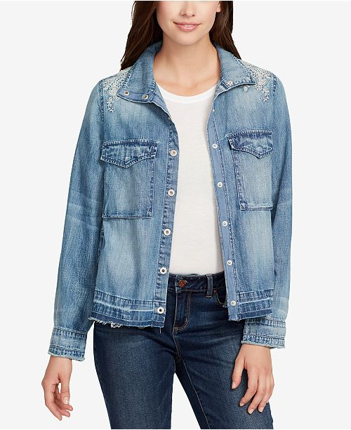 Vintage America Embroidered Back-Pleat Denim Jacket