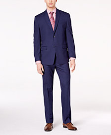 Marc New York by Andrew Marc Men's Classic-Fit Stretch Dark Blue Pinstripe Suit