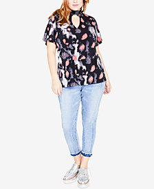 RACHEL Rachel Roy Trendy Plus Size Printed Mock-Neck Keyhole Top