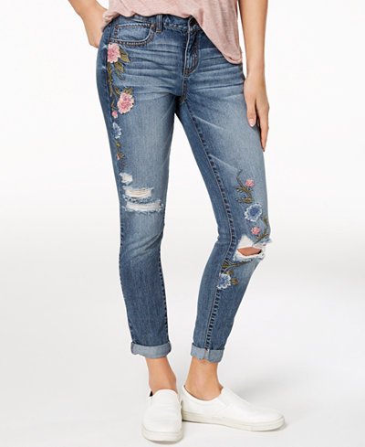Rewash Juniors' Ripped Embroidered Cuffed Skinny Jeans