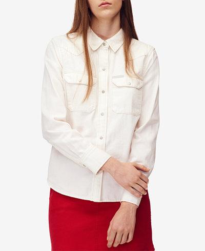 Calvin Klein Jeans Cotton Snap-Front Shirt