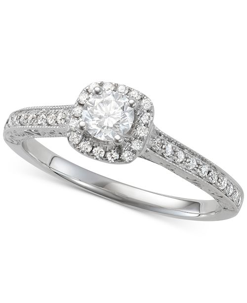 Macy's Diamond Halo Engagement Ring (5/8 ct. t.w.) in 14k White Gold