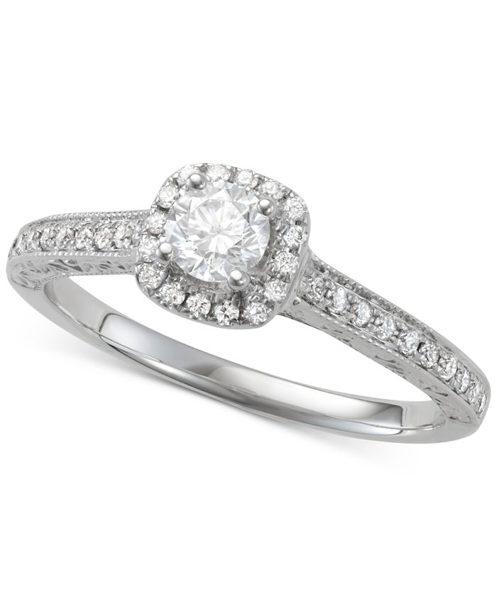 Macy's - Diamond Halo Engagement Ring (5/8 ct. t.w.) in 14k White Gold