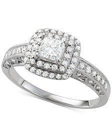 Diamond Princess Cut Double Halo Engagement Ring (7/8 ct. t.w.) in 14k White Gold