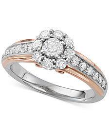 Diamond Two-Tone Halo Engagement Ring (1 ct. t.w.) in 14k White & Rose Gold