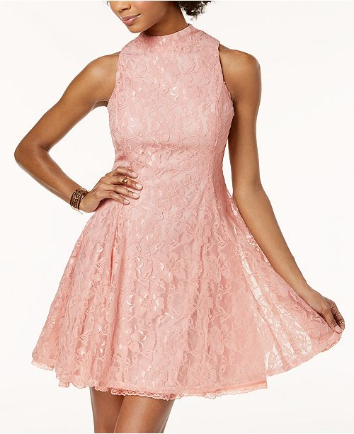 Juniors' Lace Mock-Neck Fit & Flare Dress, Created for Macy's