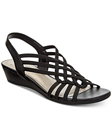 Roma Stretch Slingback Wedge Sandals