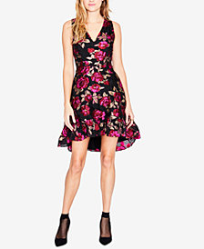 RACHEL Rachel Roy Printed Jacquard High-Low Dress