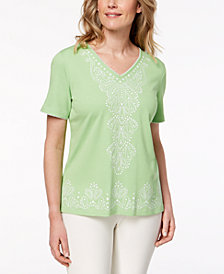Alfred Dunner Petite Turks & Caicos Embroidered V-Neck Top