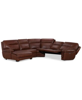 Furniture Myars Leather Power Reclining Sectional