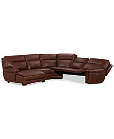 Myars 5 Pc. Leather Chaise Sectional Sofa With 2 Power Recliners, Power  Headrests