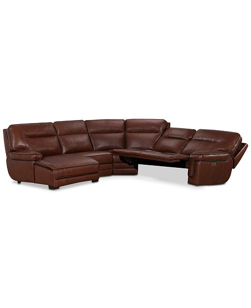 Furniture Myars 5-Pc. Leather Chaise Sectional Sofa With 2 Power Recliners, Power Headrests, And USB Power Outlet, Created for Macy's