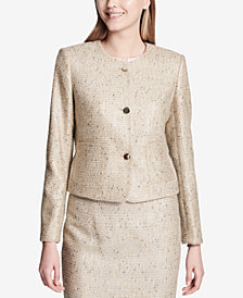 Calvin Klein Tweed Three-Button Blazer