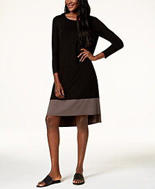 Eileen Fisher Stretch Jersey Contrast-Hem Dress