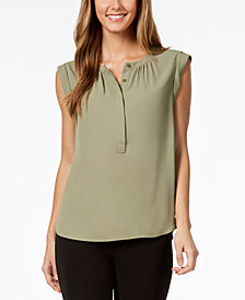Nine West Cap-Sleeve Button-Front Top