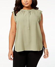Nine West Plus Size Mock-Neck Blouse