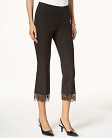 Alfani Cropped Lace-Hem Pants, Created for Macy's