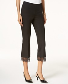 Alfani Petite Lace-Hem Pull-On Cropped Pants, Created for Macy's