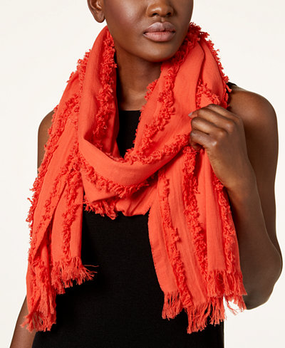Eileen Fisher Organic Cotton Frayed-Seams Scarf
