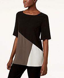Eileen Fisher Silk Colorblocked Top