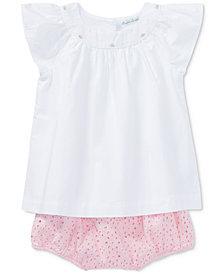 Ralph Lauren Flutter-Sleeve Cotton Top, Baby Girls