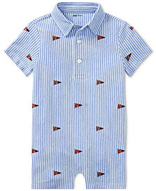 Ralph Lauren Graphic Cotton Romper, Baby Boys