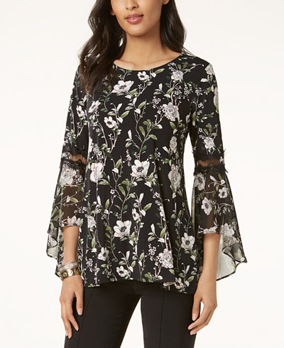 Alfani Floral-Print Bell-Sleeve Top, Created for Macy's