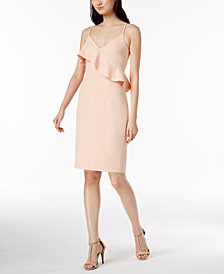 Calvin Klein Ruffled Scuba Crepe Sheath Dress