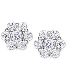 Cubic Zirconia Flower Cluster Stud Earrings in Sterling Silver