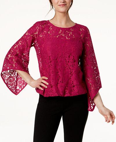 Alfani Petite Lace Bubble Top, Created for Macy's