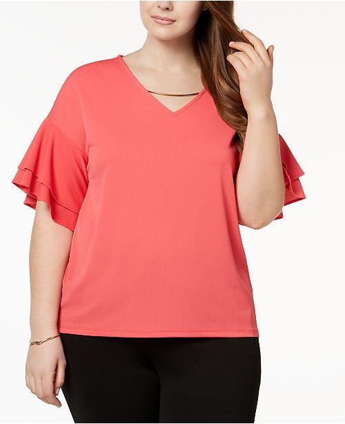 Plus Size Ruffle-Sleeve Top