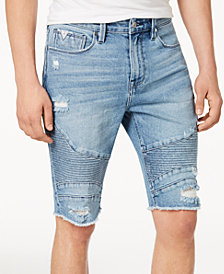 GUESS Men's Slim-Fit Stretch Destroyed Denim Moto Shorts