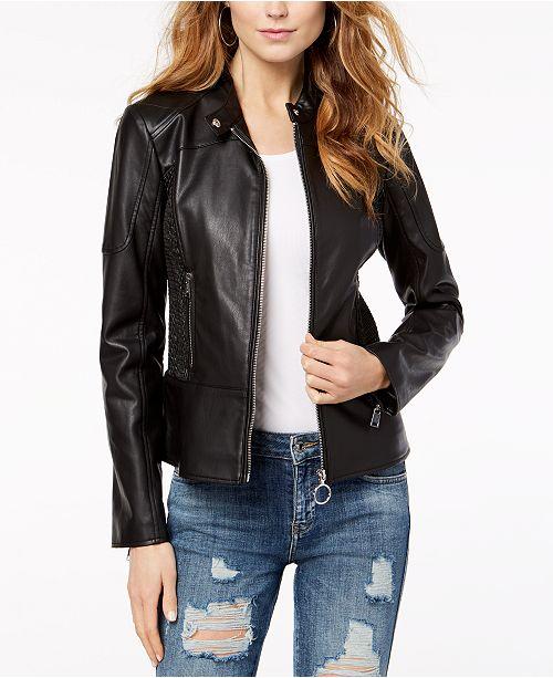 90d12a9efbad5 GUESS. Delaney Faux-Leather Biker Jacket. 2 reviews. main image  main image  ...