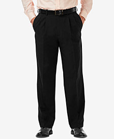 Haggar Men's Cool 18 PRO Classic-Fit Stretch Pleated Dress Pants