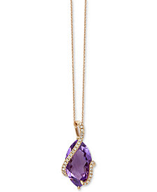 "EFFY® Pink Amethyst (6-3/8 ct. t.w.) & Diamond (1/8 ct. t.w.) 18"" Pendant Necklace in 14k Rose Gold"