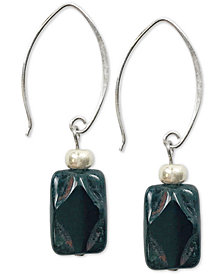 Jody Coyote Black Stone Glass Bead Drop Earrings in Sterling Silver & Silver-Plate