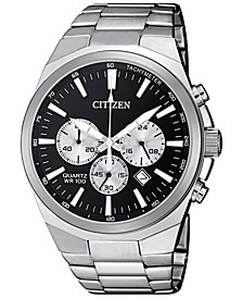 Men's Chronograph Quartz Stainless Steel Bracelet Watch 40mm