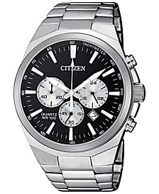 Citizen Men's Chronograph Quartz Stainless Steel Bracelet Watch 40mm