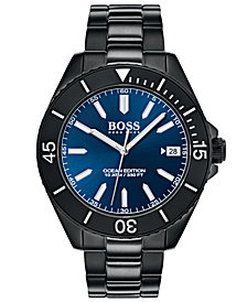 BOSS Hugo Boss Men's Ocean Edition Black Stainless Steel Bracelet Watch 42mm