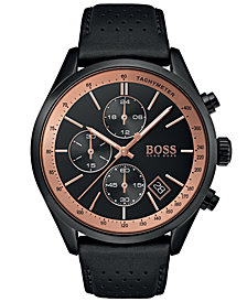 BOSS Hugo Boss Men's Chronograph Grand Prix Black Perforated Leather Strap Watch 44mm