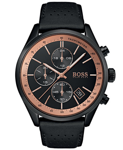 BOSS Hugo Boss Men's Chronograph Grand Prix Black Perforated Leather Strap Watch 44mm