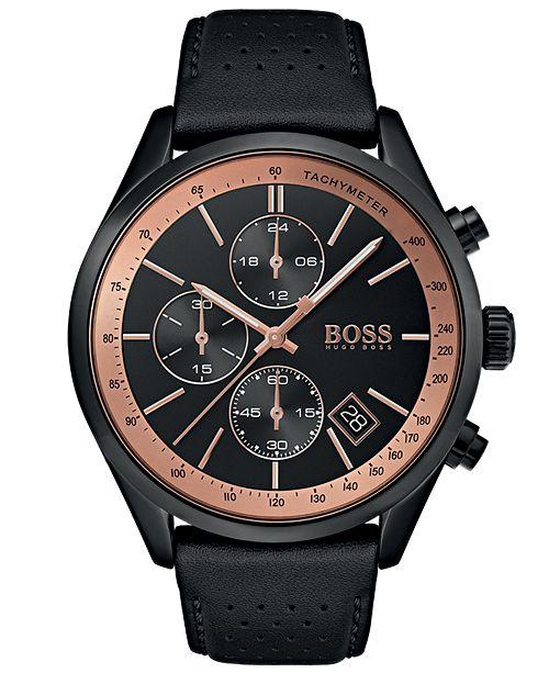 Boss Boss Hugo Boss Men S Chronograph Grand Prix Black Perforated