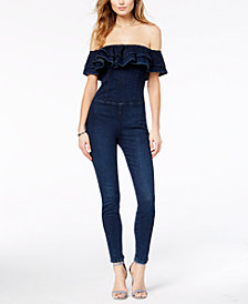 GUESS Denim Ruffle Off-The-Shoulder Jumpsuit