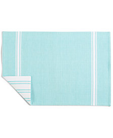 Martha Stewart Collection Striped Teal Cotton Placemat, Created for Macy's