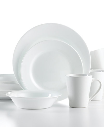 Corelle Shimmering White Round 16 Pc Set Service For 4