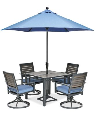 """Harlough II 5-Pc. Outdoor Dining Set (36"""" Square Dining Table and 4 Swivel Rockers) with Sunbrella® Cushions, Created for Macy's"""