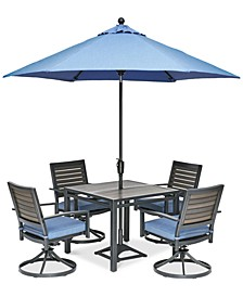 "Harlough II 5-Pc. Outdoor Dining Set (36"" Square Dining Table and 4 Swivel Rockers) with Sunbrella® Cushions, Created for Macy's"