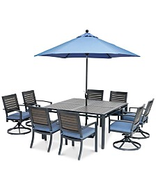 "Harlough II 9-Pc. Outdoor Dining Set (62"" Square Dining Table, 4 Dining Chairs and 4 Swivel Rockers) with Sunbrella® Cushions, Created for Macy's"