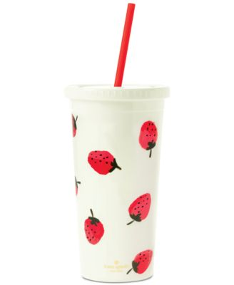 Tumbler with Straw, Strawberries