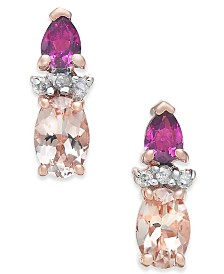 Multi-Gemstone (1-1/3 ct. t.w.) & Diamond Accent Stud Earrings in 14k Rose Gold